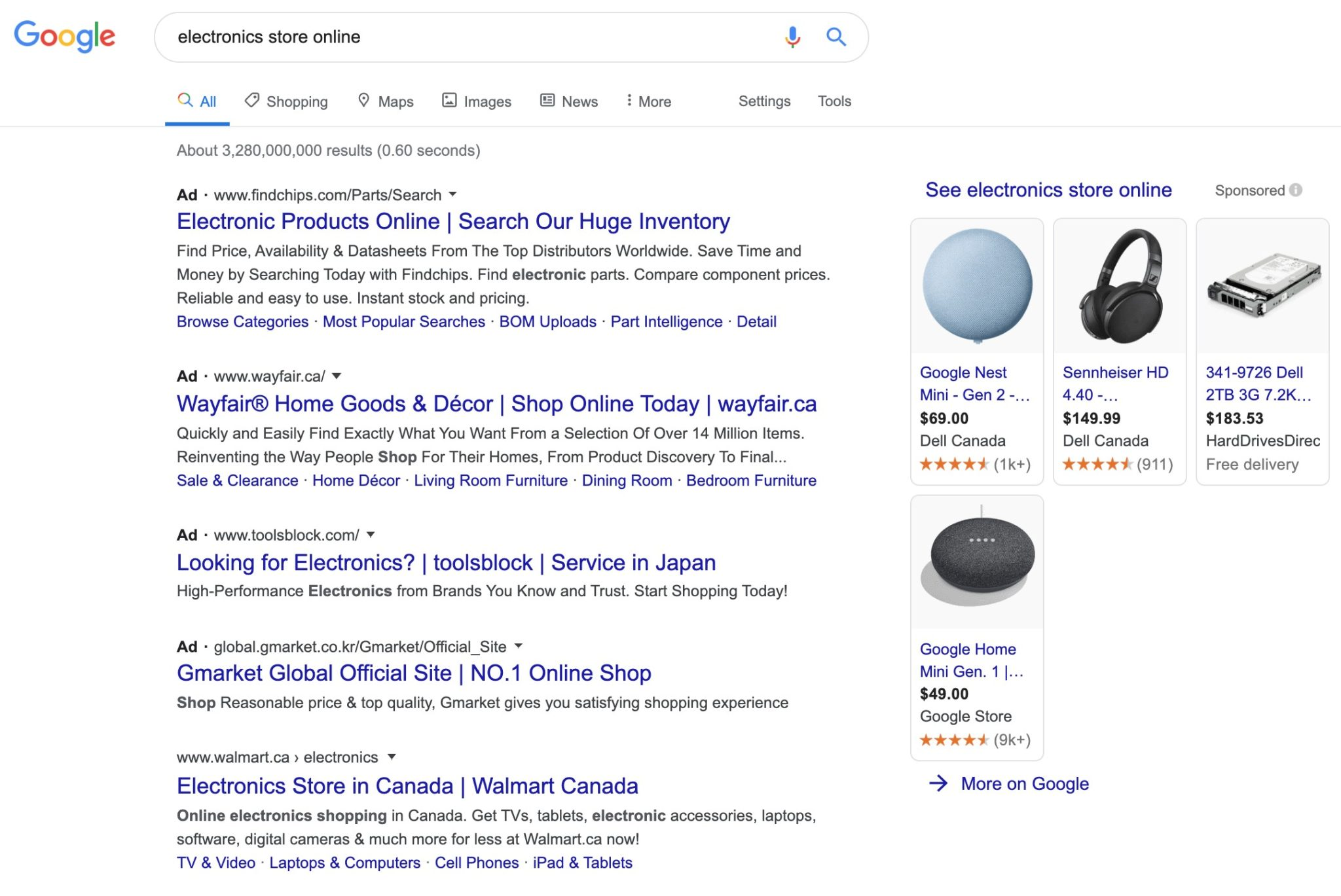 SERPs for Electronics