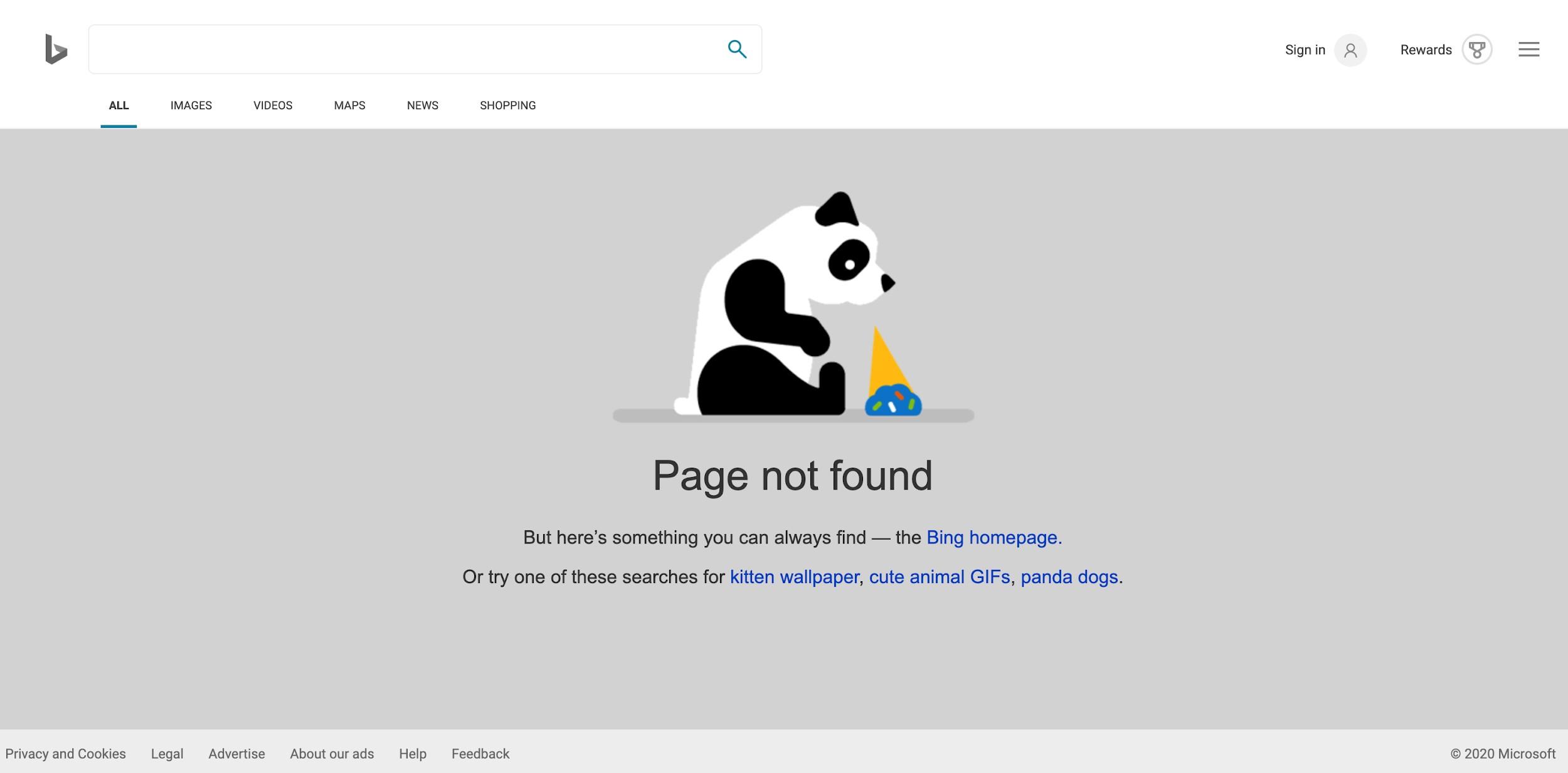 Bing Error Webpage