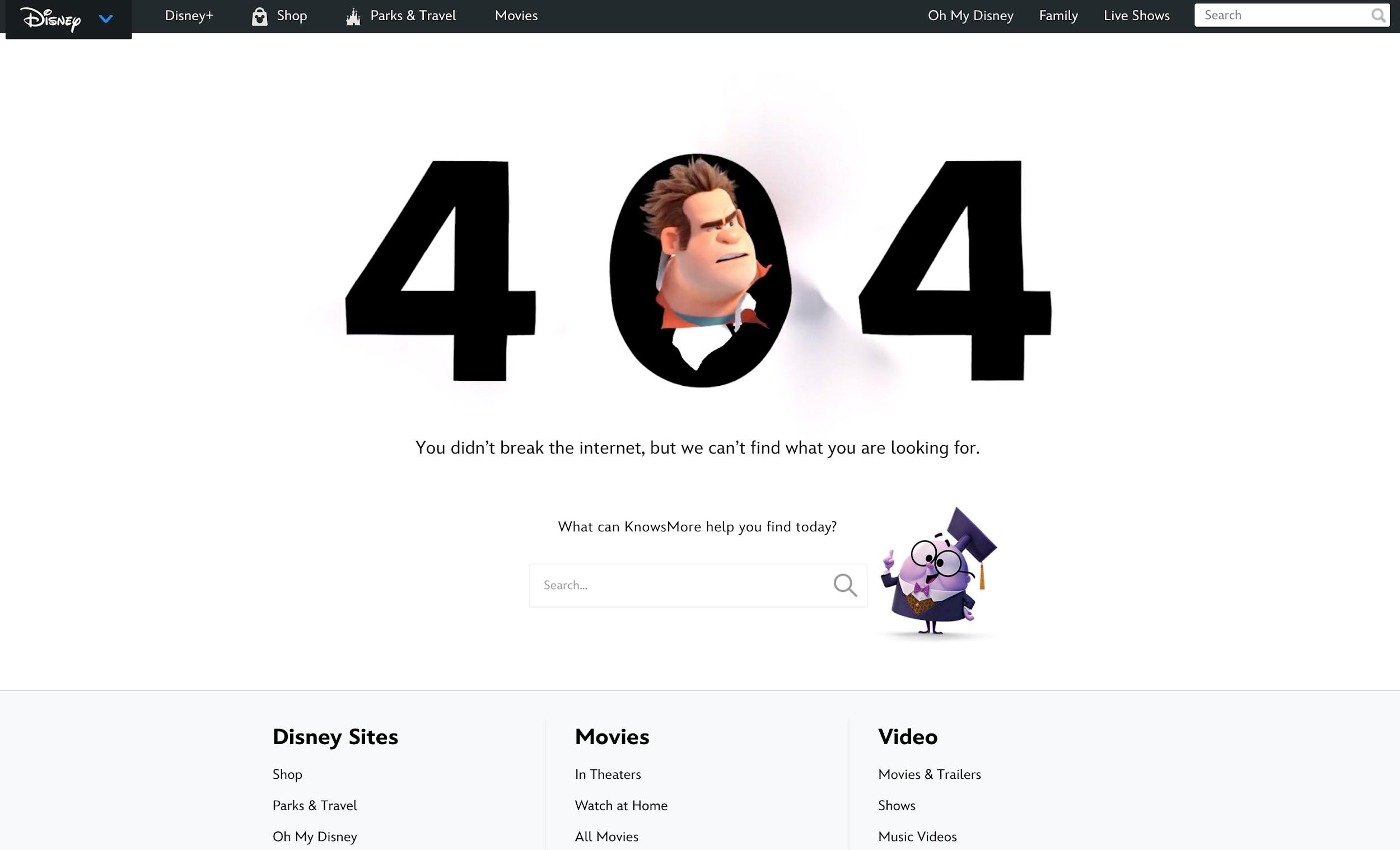 Disney Page Error