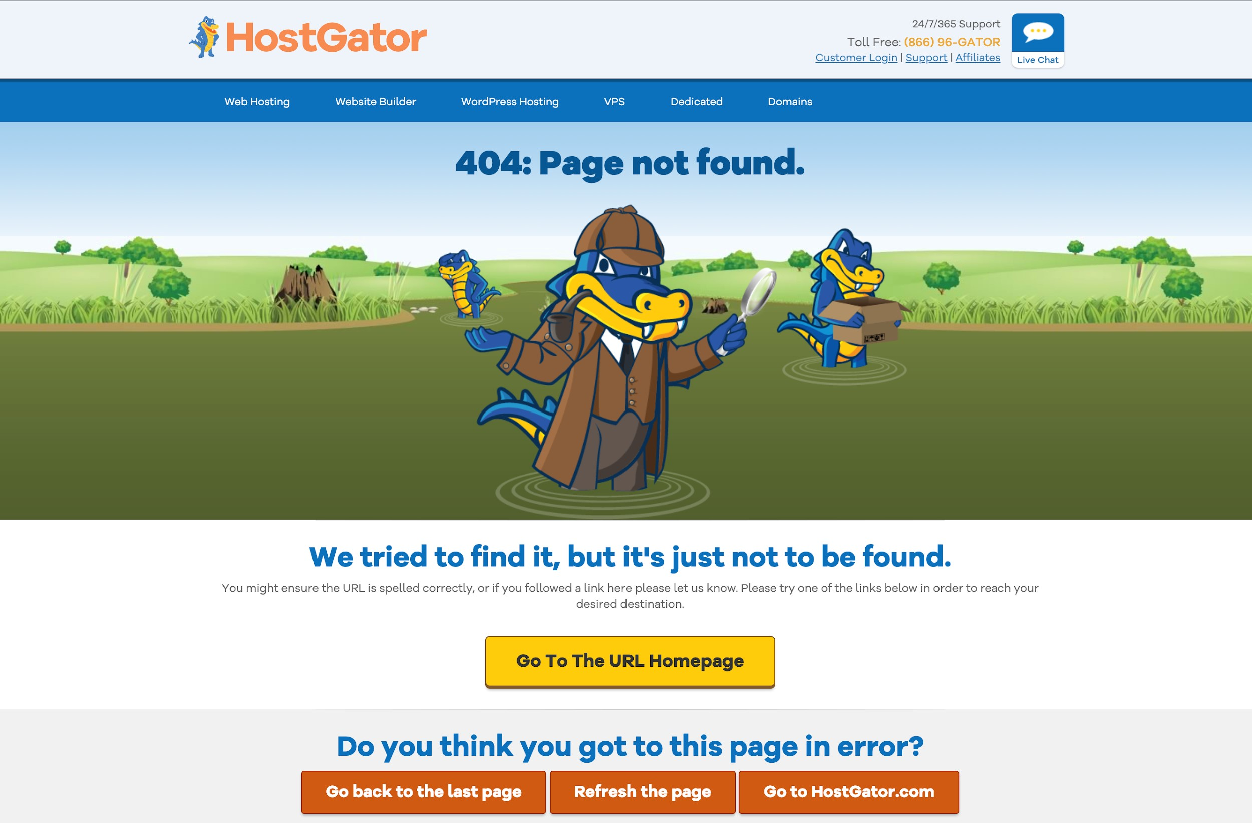 Hostgator 404 Error