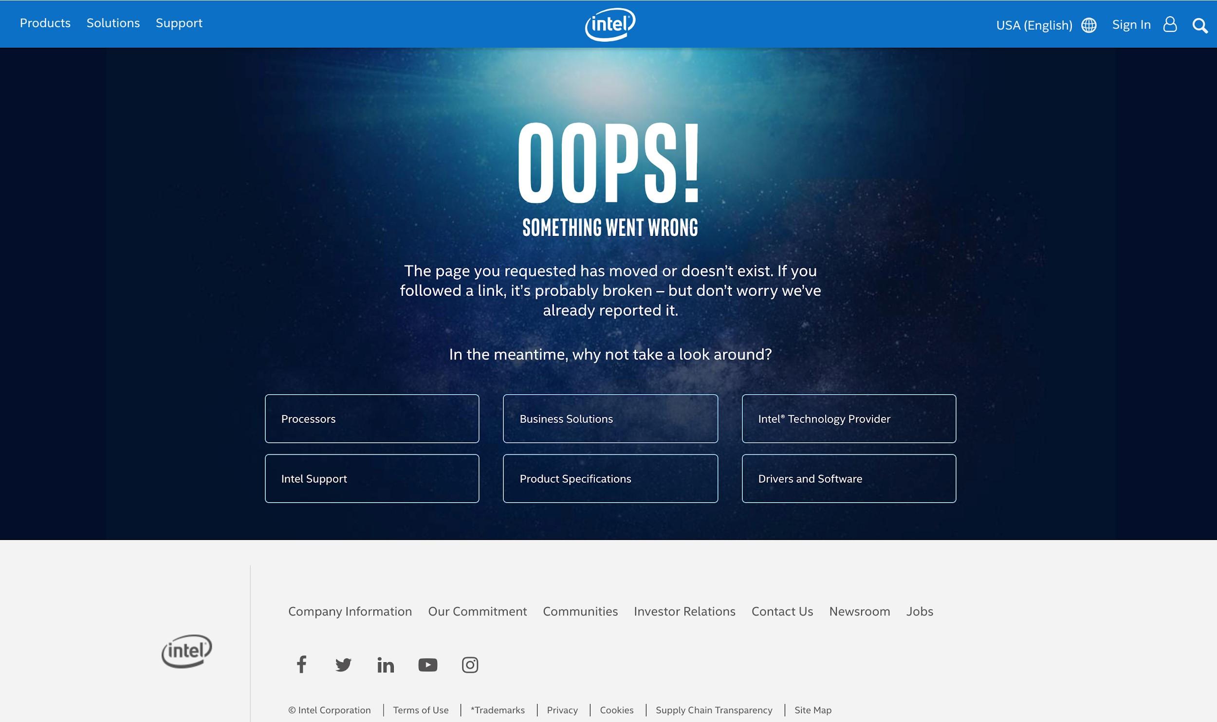 Intel Page Error