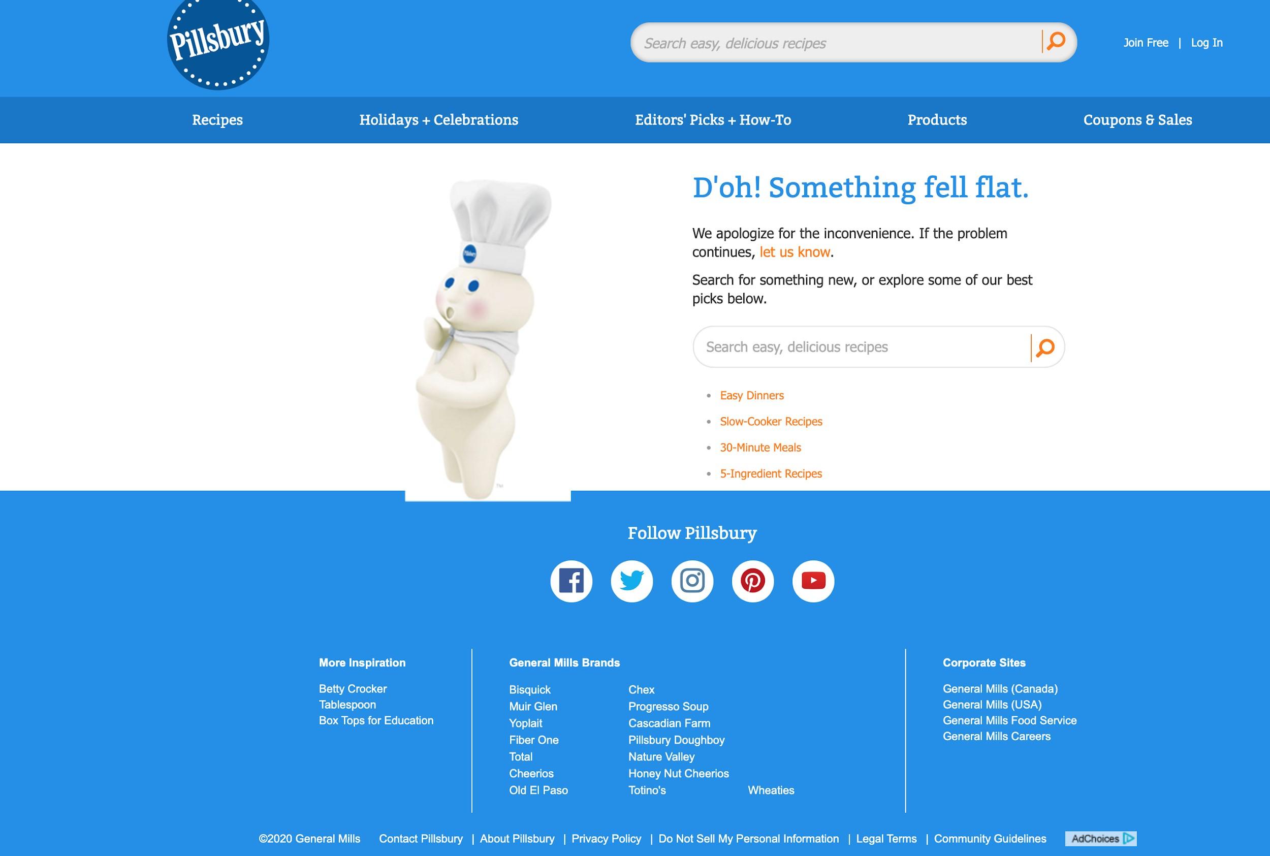Pillsbury Webpage Error