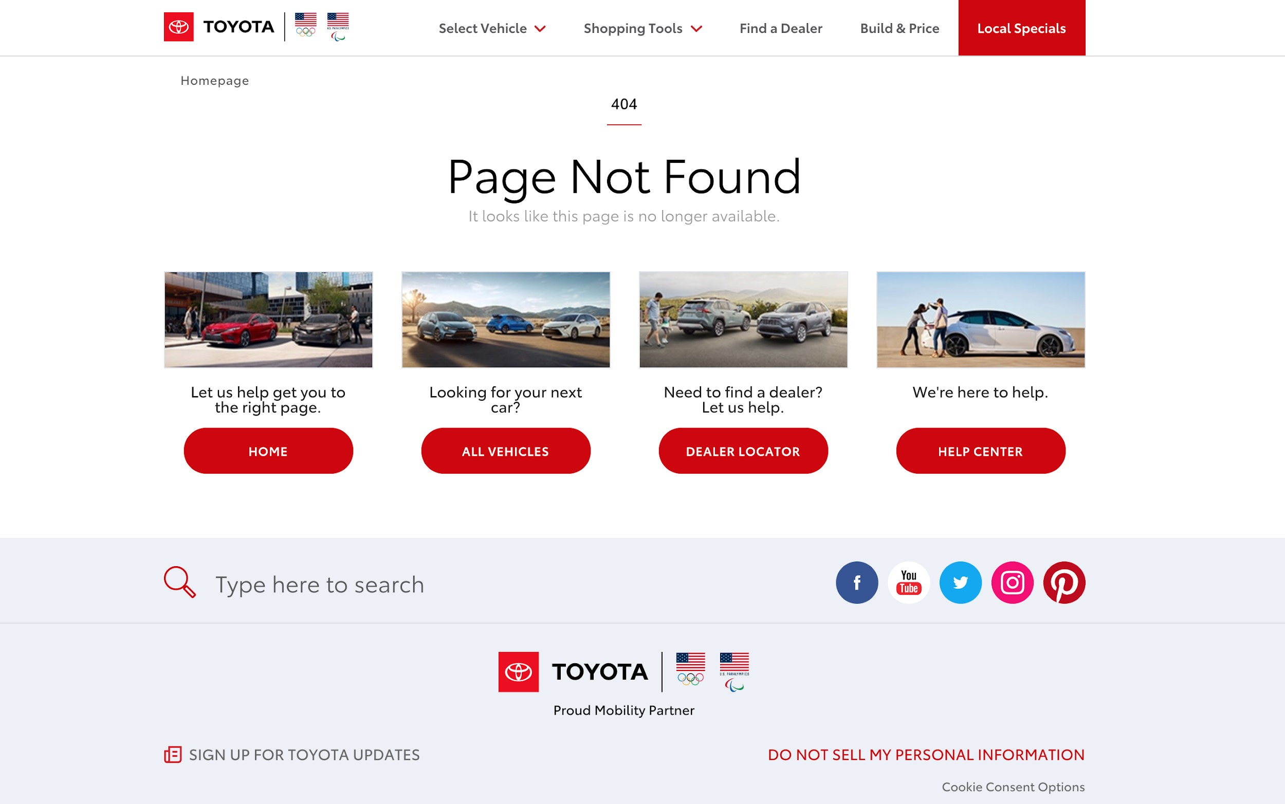 Toyota Page Not Found