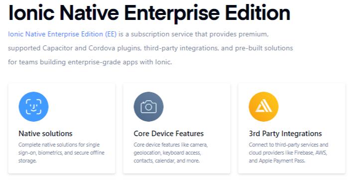 Ionic Native Enterprise Edition