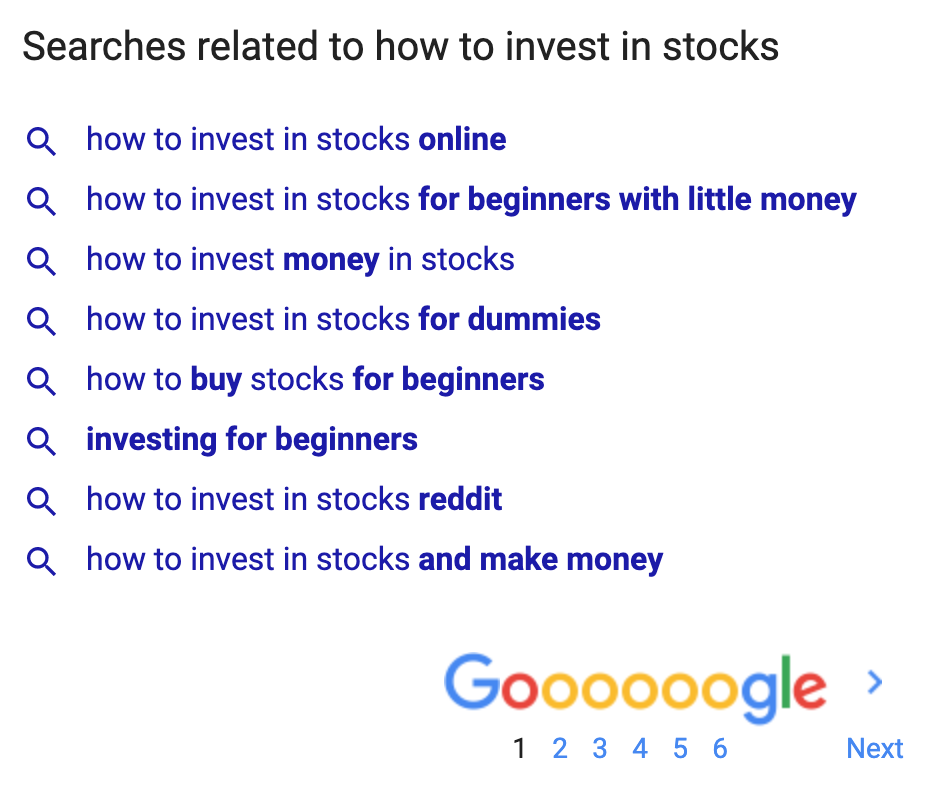 Related Searches via Google