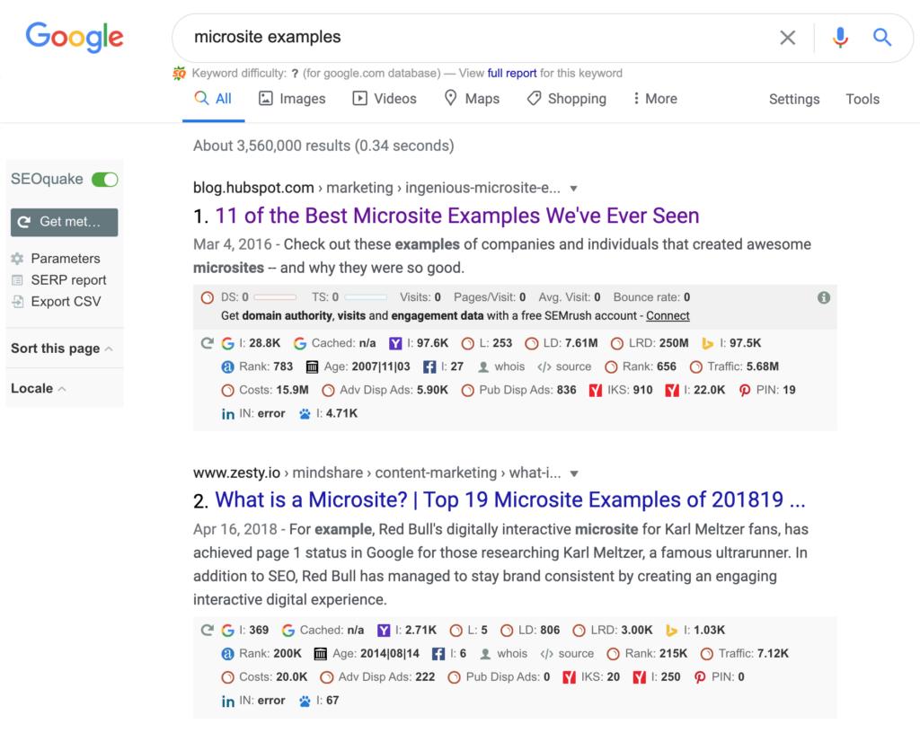 Microsite Examples