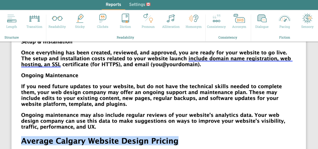 Average Calgary Website Design Pricing Text