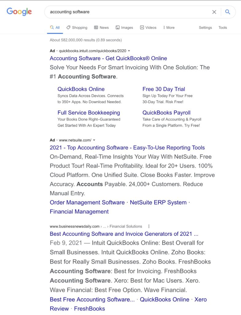 accounting software serps